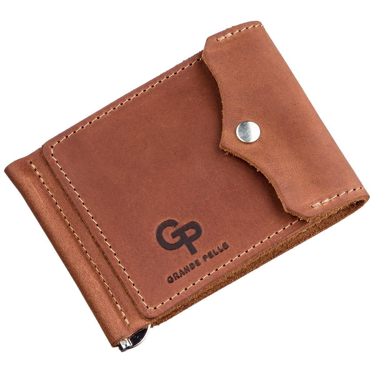 Компактный зажим для денег винтажный GRANDE PELLE 11239 Рыжий