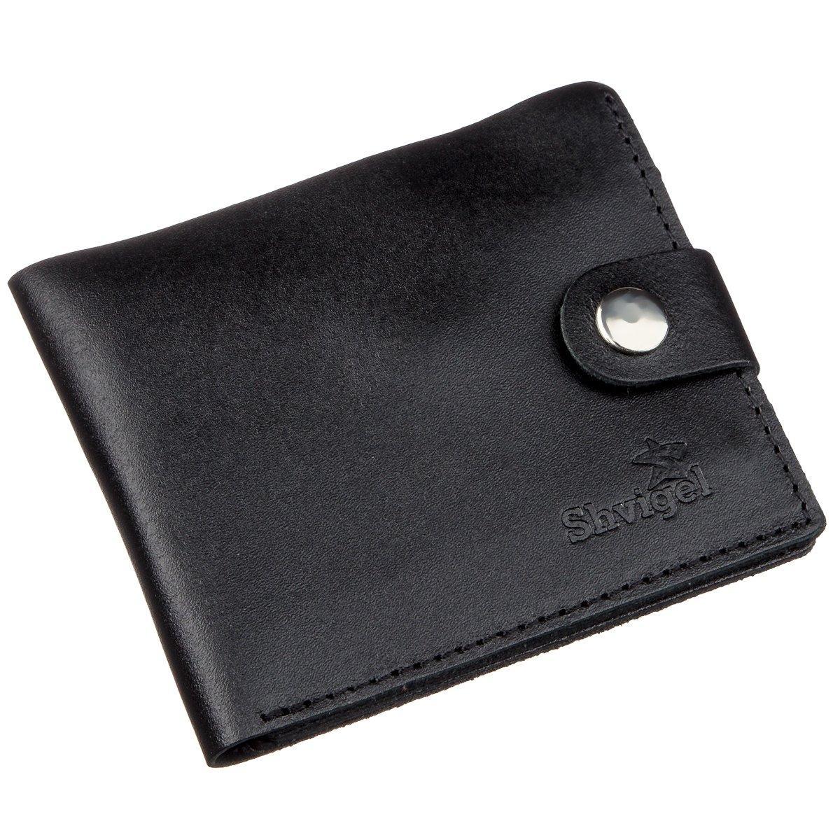 Портмоне чоловіче з монетницею шкіряне SHVIGEL 16211 Чорне