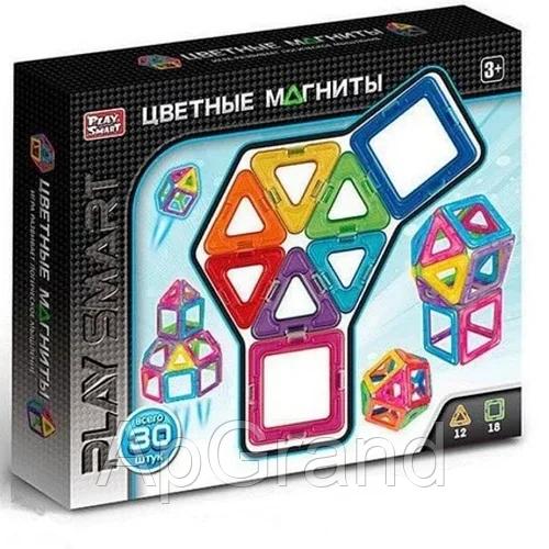 Магнитный конструктор Play Smart 2427 Цветные магниты 30 деталей в коробке MB