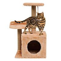 Домик-когтеточка с полкой Бусинка 43х33х75 см дряпка угловая для кота. Лежанка игровой комплекс котов, фото 1