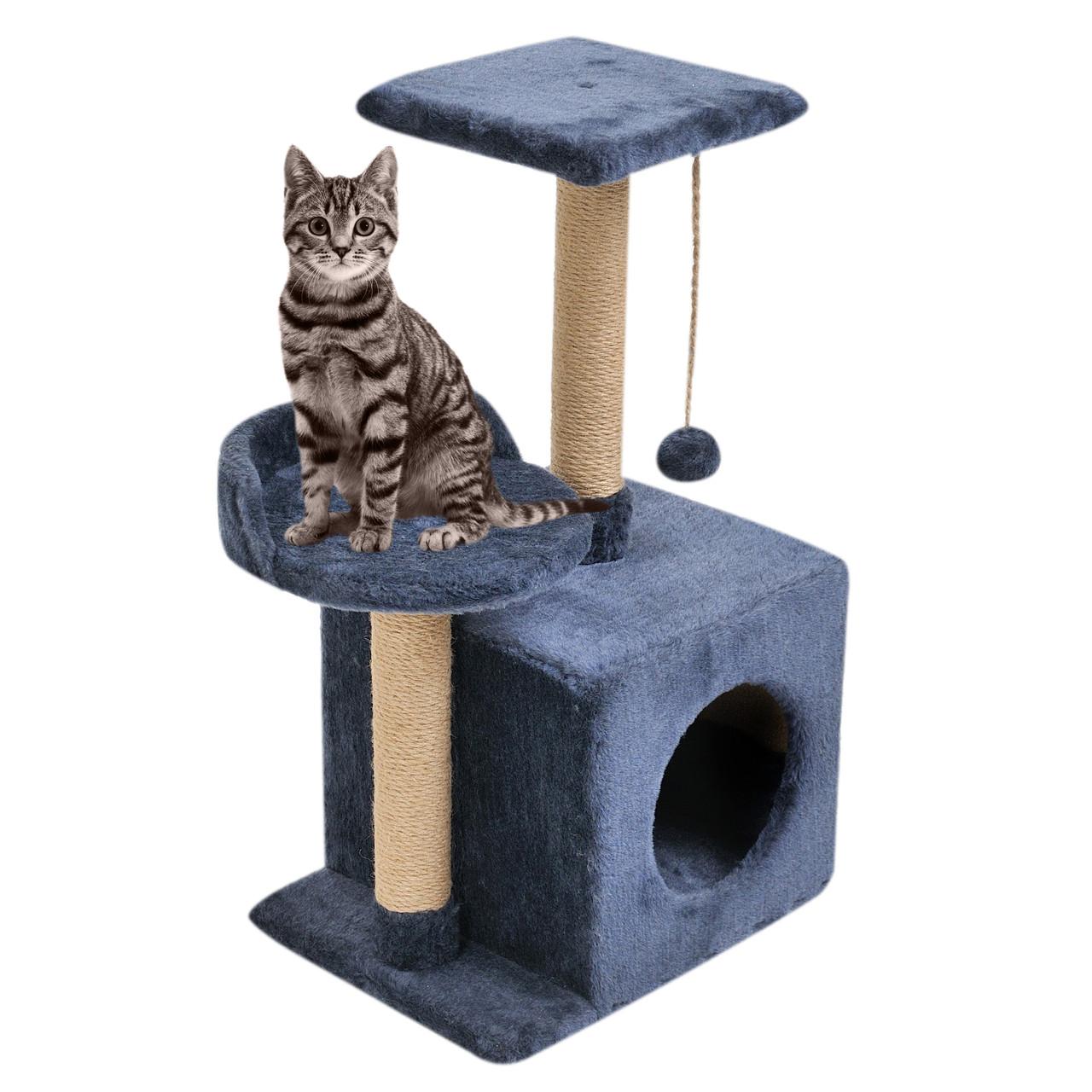 Будиночок-когтеточка з полицею Бусинка 43х33х75 см дряпка кутова для кота. Лежанка ігровий комплекс котів Синій