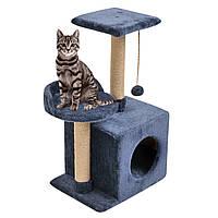 Будиночок-когтеточка з полицею Бусинка 43х33х75 см дряпка кутова для кота. Лежанка ігровий комплекс котів Синій, фото 1