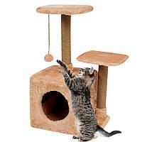 Домик-когтеточка с полкой Маруся 43х33х75 см дряпка угловая для кота. Лежанка игровой комплекс котов. Бежевый, фото 1