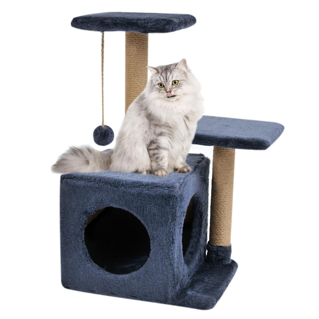 Будиночок-когтеточка з полицею Маруся 43х33х75 см дряпка кутова для кота. Лежанка ігровий комплекс котів. Синій