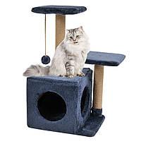 Будиночок-когтеточка з полицею Маруся 43х33х75 см дряпка кутова для кота. Лежанка ігровий комплекс котів. Синій, фото 1