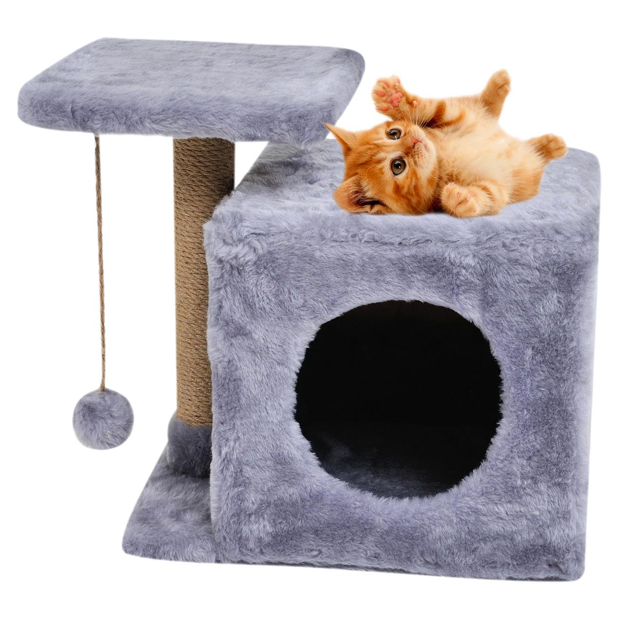 Будиночок-когтеточка з полицею Мілана 43х33х45 см дряпка кутова для кота. Лежанка ігровий комплекс котів. Сірий