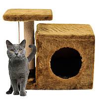 Домик-когтеточка с полкой Милана 43х33х45см дряпка угловая для кота. Лежанка игровой комплекс котов Коричневый, фото 1