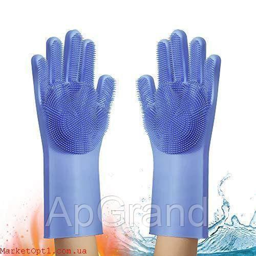 Міцні силіконові багатофункціональні рукавички з щіткою для прибирання і миття посуду, Щітка антишерсть