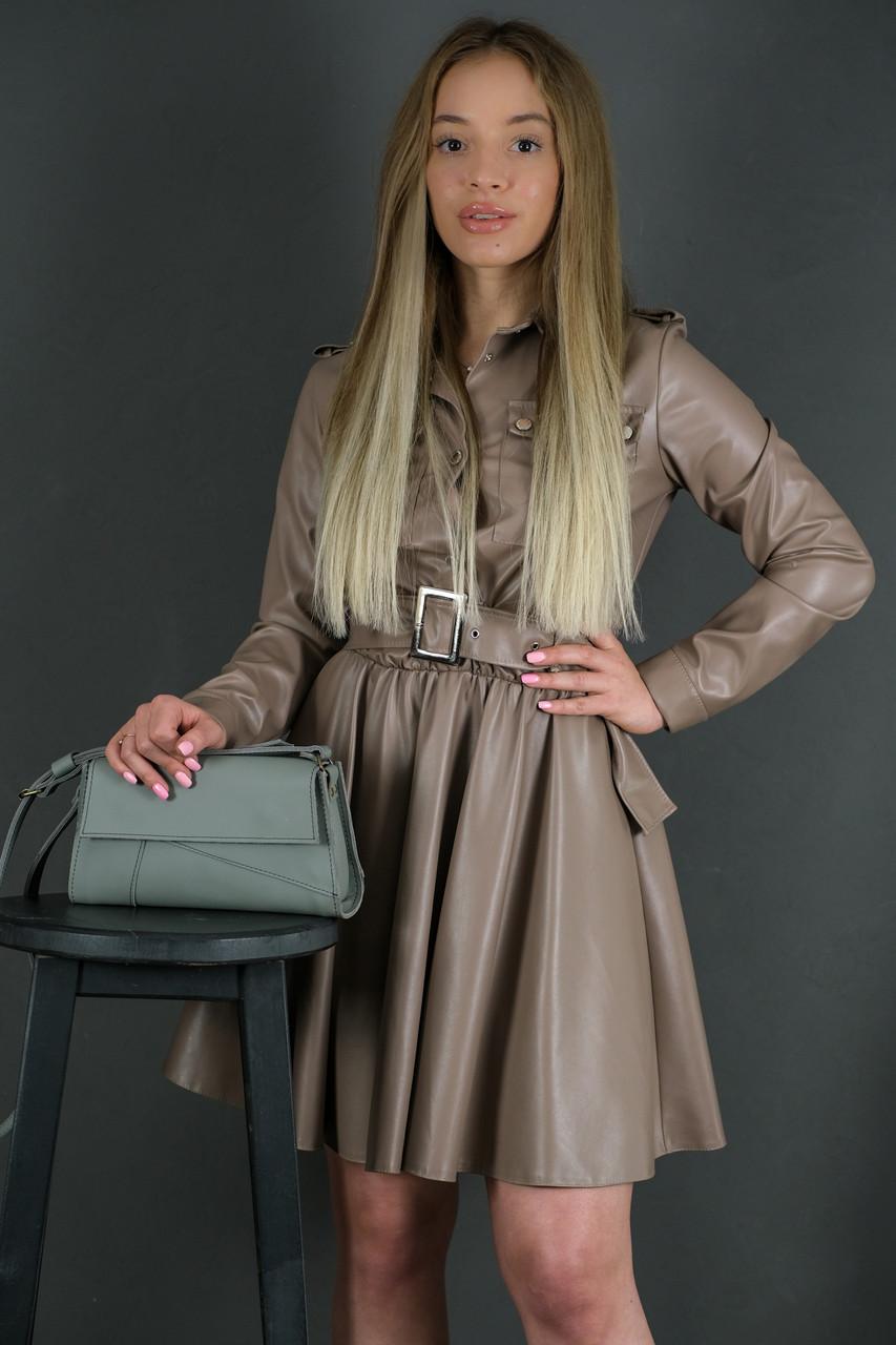 Женская кожаная сумка Френки вечерняя, натуральная кожа Grand, цвет Серый