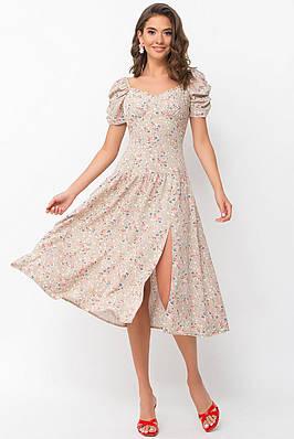 Літній розкльошені бежеву сукню міді в дрібний квітковий принт