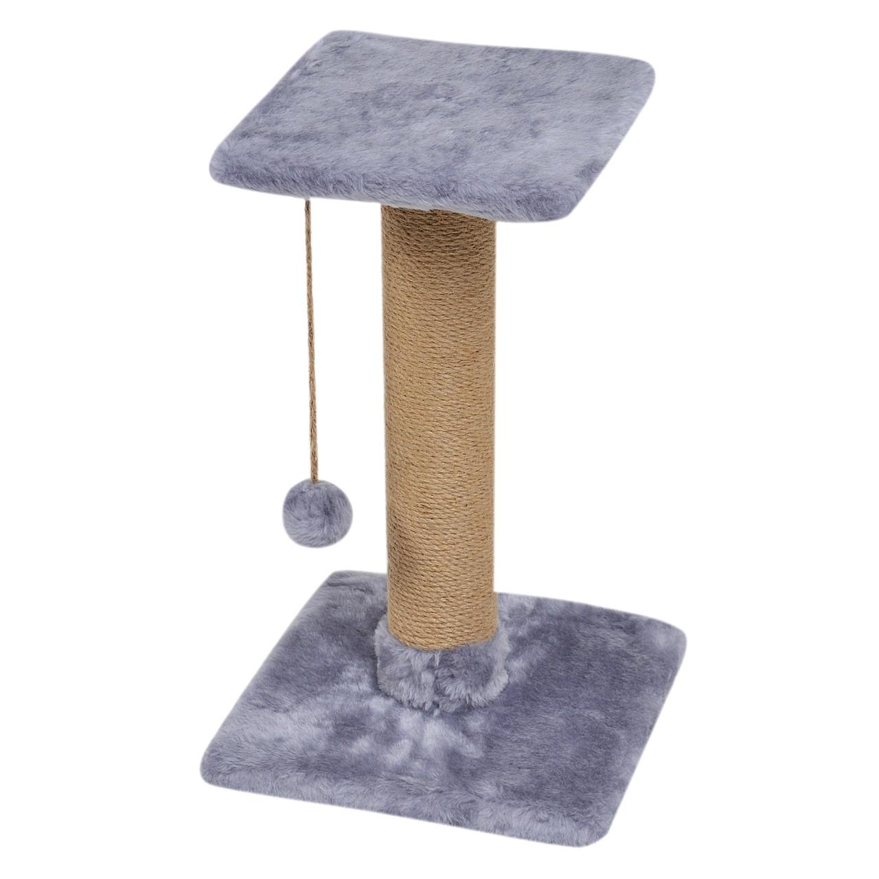 Когтеточка-столбик с полкой 33х33х50 см (дряпка) для кошки. Когтеточка для котов. Серый