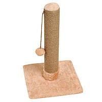 Когтеточка-столбик 33х33х50 см (дряпка) для кошки. Когтеточка для котов. Бежевый