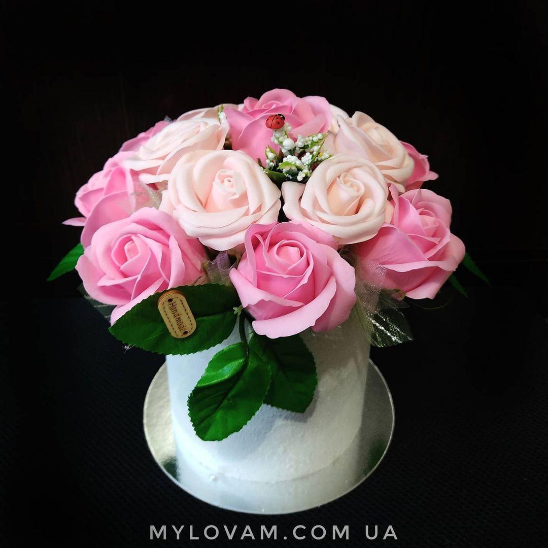 Букет з мила ручної роботи, мильна букет, 15 троянд з мила, композиція троянди з мила, нев'янучі квіти