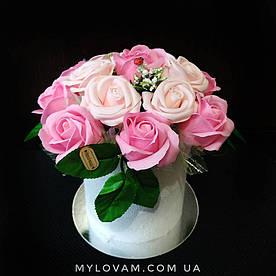 Букет из мыла ручной работы, мыльный букет, композиция розы из мыла, неувядающие цветы, 15 роз из мыла