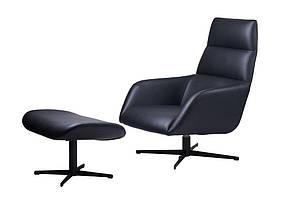 Berkeley лаунж крісло з підставкою, чорний