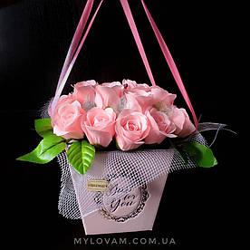Букет з мила ручної роботи, мильна букет, 25 троянд з мила, композиція троянди з мила, нев'янучі квіти