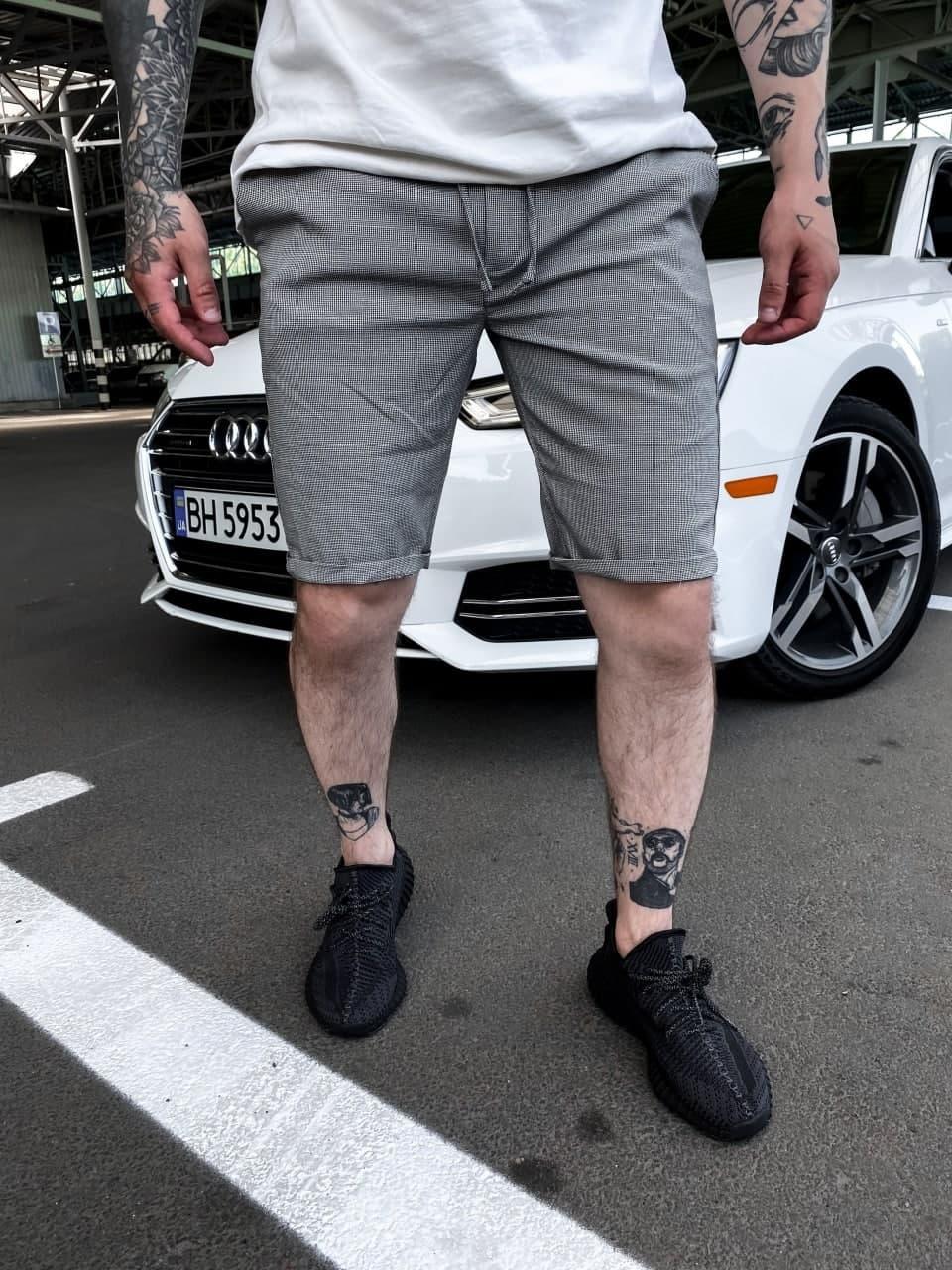 Мужские шорты в полоску с карманами (серый) трикотажные на лето sb31