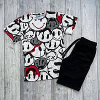 Мужской спортивный костюм, летний спортивный комплект мужская футболка шорты Смайлики