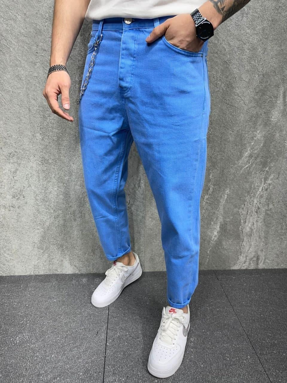 Мужские джинсы зауженные книзу (синий) молодежные современные s6393