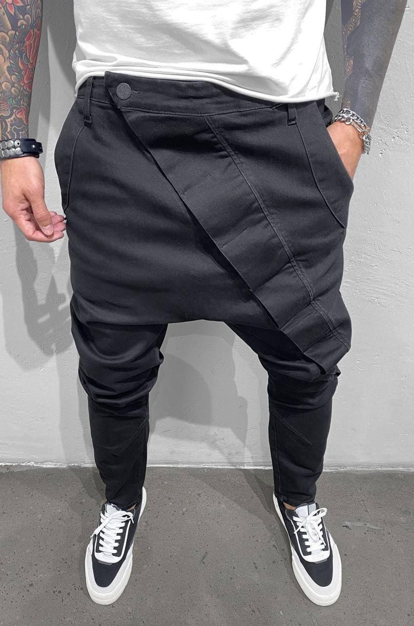 Чоловічі джинси вузькі (чорні) стильні з молодіжним вирізом повсякденні A15249
