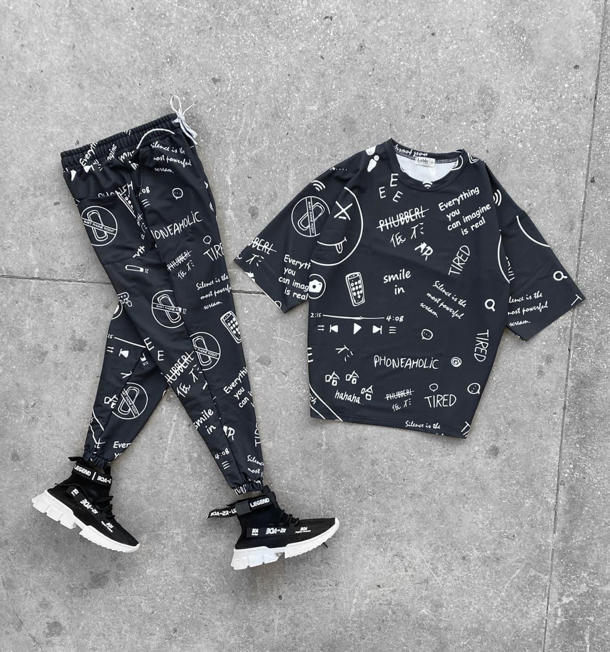 Чоловічий комплект штани + футболка (чорний) з написом phoneaholic на літо ssko9