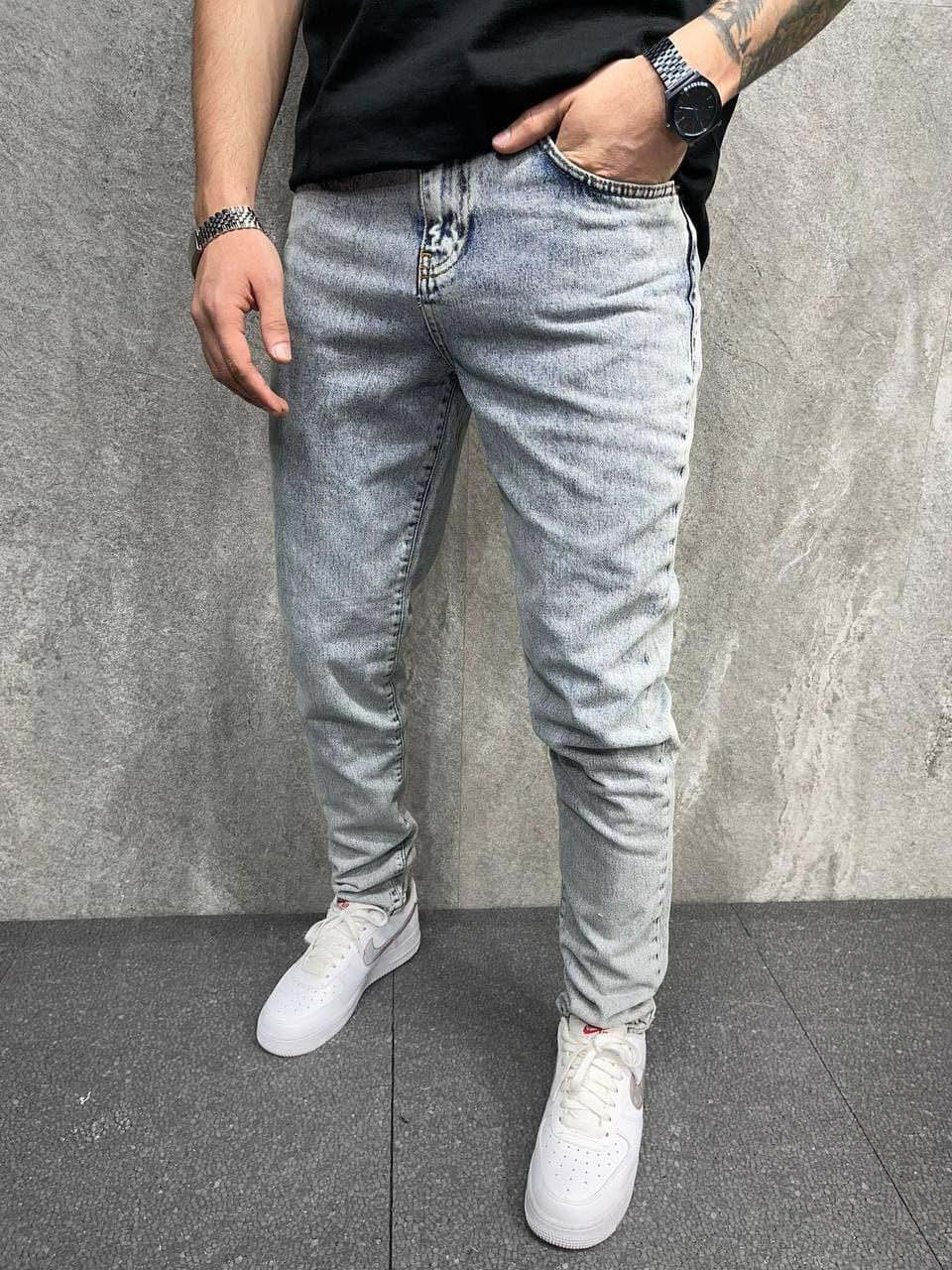 Мужские зауженные джинсы (серый) классические легкие на лето s8123