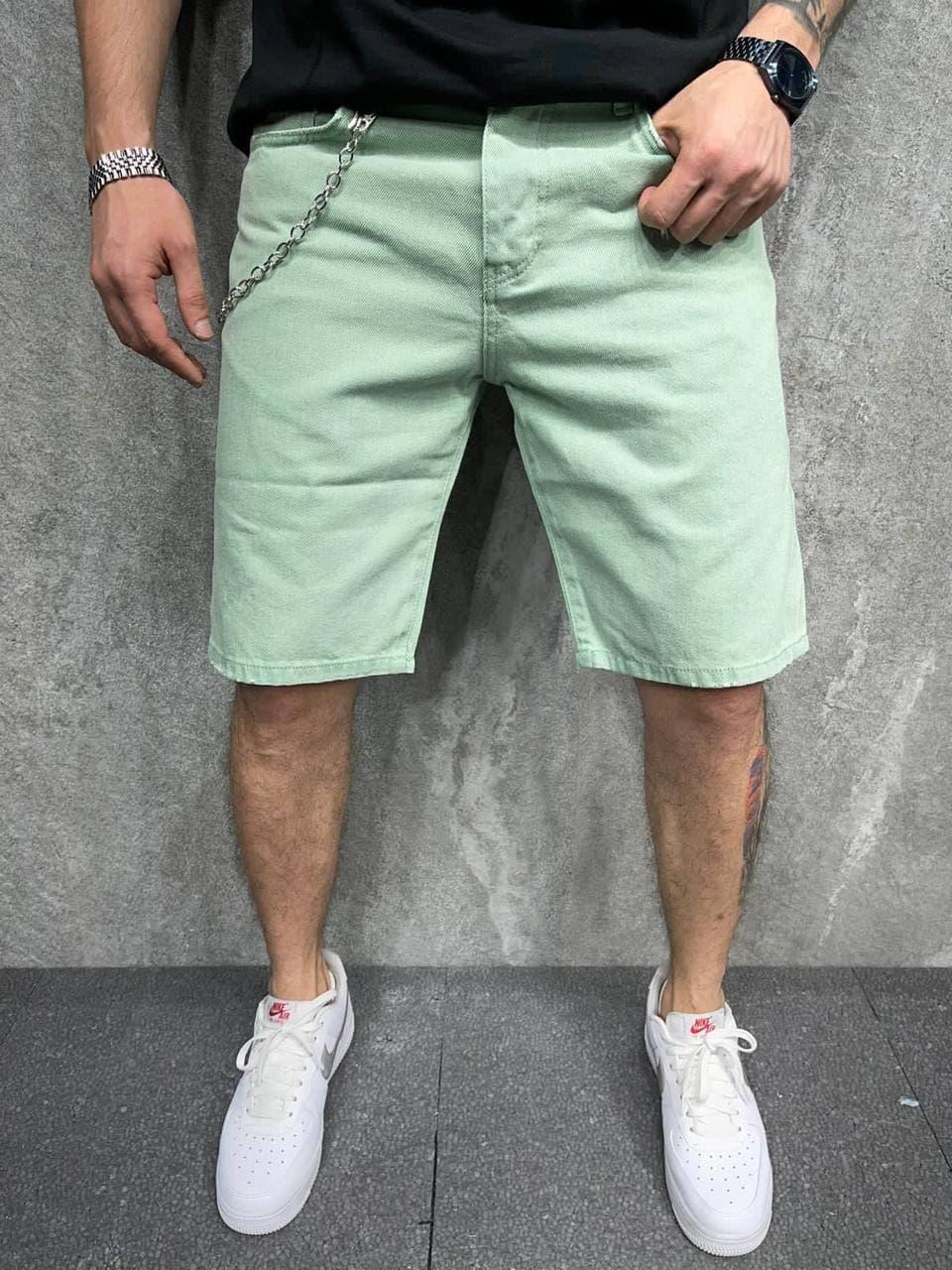 Мужские джинсовые шорты Over (зеленые) широкие свободные бриджи A6381