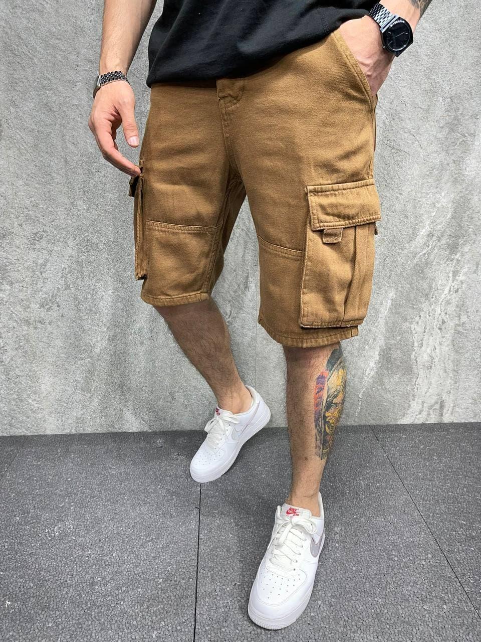Мужские джинсовые шорты (песочный) с большими карманами сбоку свободные бриджи AK8054