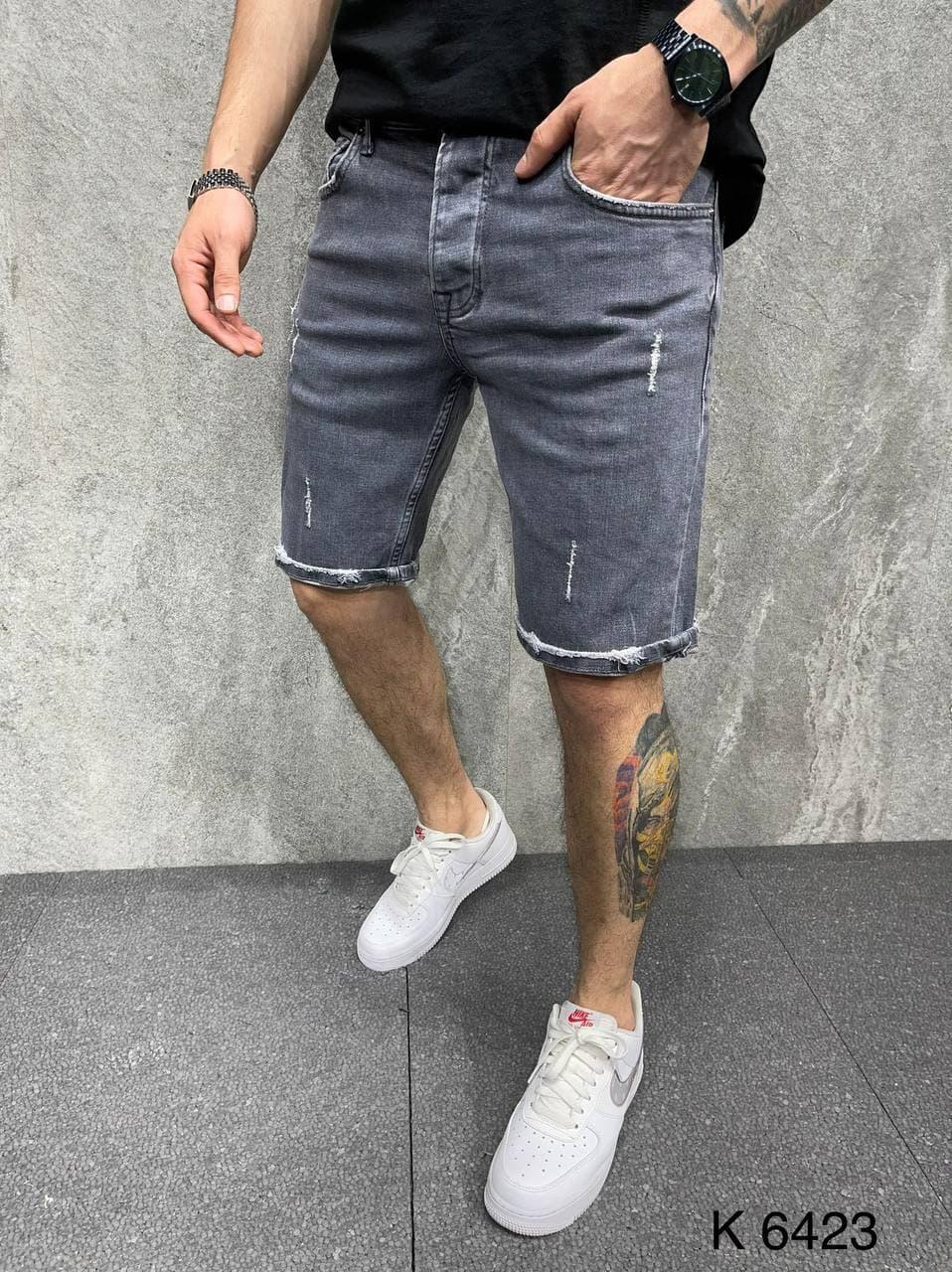 Мужские джинсовые шорты (темно-серый) легкие качественные бриджи A6423