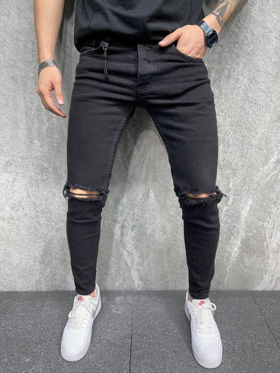 Чоловічі джинси завужені (чорні) молодіжні діряві якісні штани A6378