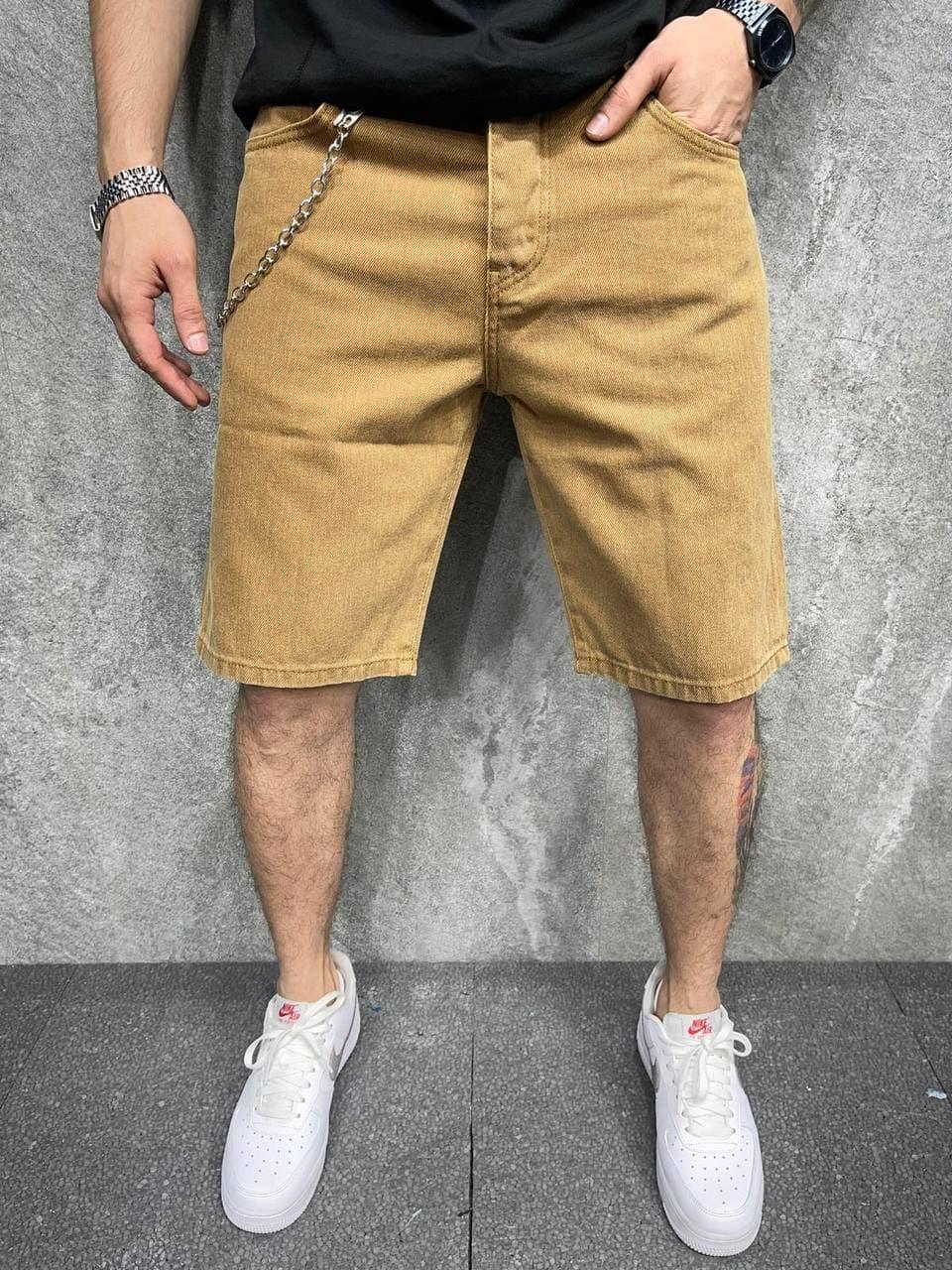 Чоловічі джинсові шорти Over size (пісочний) широкі круті бриджі A6387