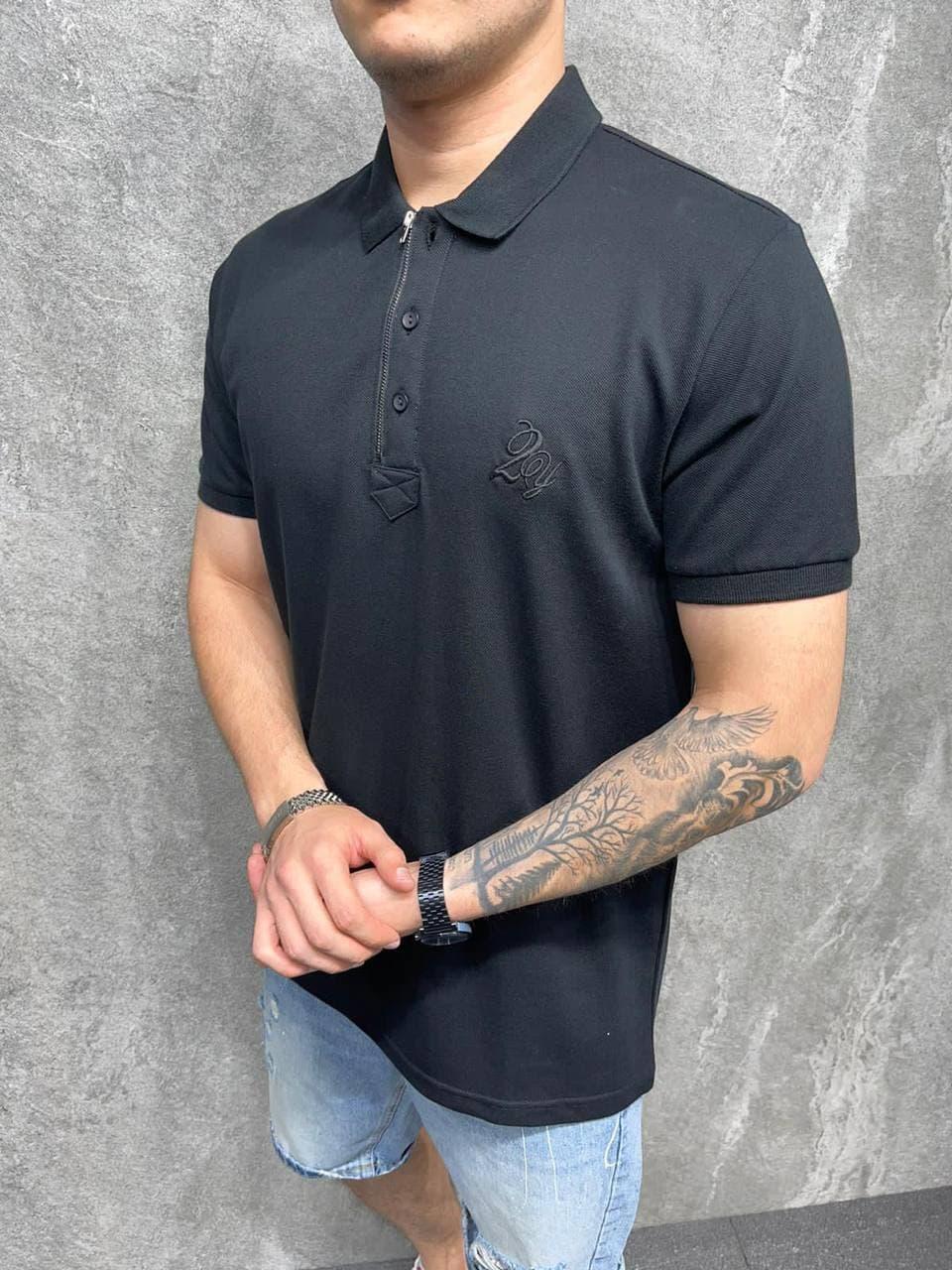 Чоловіча футболка поло (чорна) класична сучасна одяг на літо AT-6061