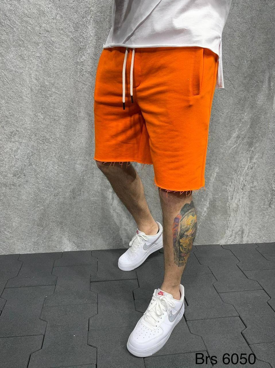 Чоловічі шорти однотонні з кишенями (помаранчеві) трикотажні вільного крою SH-6050