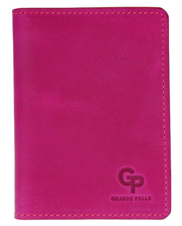 Женский картхолдер Grande Pelle из натуральной кожи, обложка для документов, розовый цвет, матовый