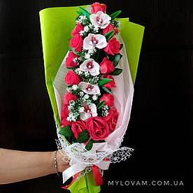 Мыльный букет из орхидей и роз, мыльная корзинка, мыльные цветы, мильний букет
