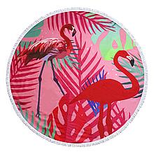 """Рушник пляжний кругле з бахромою """"Рожевий фламінго"""" 150см"""