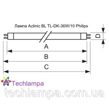 Лампа Actinic BL TL-DK-36W/10 Philips