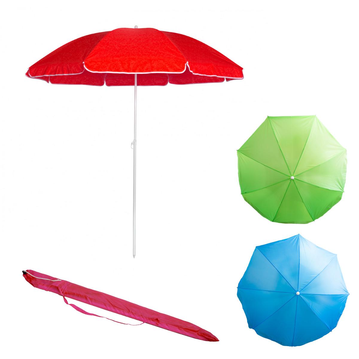 Пляжный зонтик однотонный Stenson 1.8 м Красный зонт без наклона (парасоль пляжна) (ST)