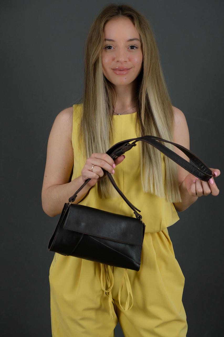 Жіноча шкіряна сумка Френкі вечірня, натуральна Гладка шкіра, колір коричневый, відтінок Шоколад