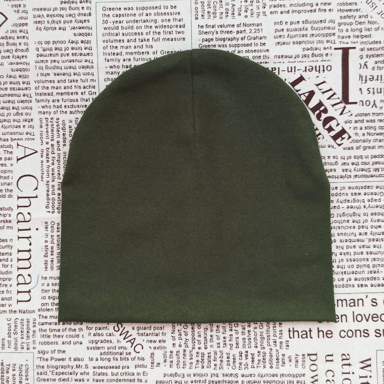 Демісезонна подвійна шапка дитяча 4-12 років Темно-оливковий (071270)