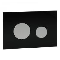 Панель смыва с двумя клавишами стеклянная TECE TECEloop 9.240.655 стекло черное, клавиши хром матовый, фото 1