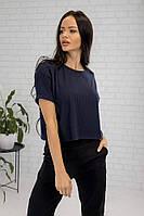 Женская короткая футболка рубчик однотонная