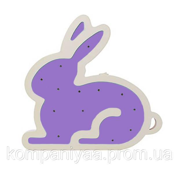 """Детский деревянный светильник-ночник """"Фиолетовый Кролик"""" на батарейках MD 1566-8"""