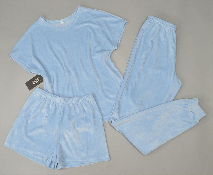 Жіноча піжама трійка плюшевий велюр комплект футболка штани шорти.