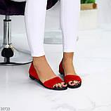 Женские босоножки/ балетки с открытым носком красные натуральная замша, фото 2