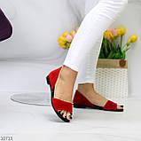 Женские босоножки/ балетки с открытым носком красные натуральная замша, фото 5