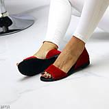 Женские босоножки/ балетки с открытым носком красные натуральная замша, фото 3