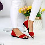 Женские босоножки/ балетки с открытым носком красные натуральная замша, фото 6