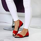 Женские босоножки/ балетки с открытым носком красные натуральная замша, фото 7
