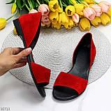 Женские босоножки/ балетки с открытым носком красные натуральная замша, фото 8